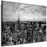Julia-Art Leinwandbilder Skyline - New York Bilder - XXL Wandbild mit Keilrahmen - 80 mal 60 cm - Querformat 1 teilig - Schwarz Weiß Kunstdrucke Stadt NY City Statue, Brücke verschiedene Motive N-c-100-a-60