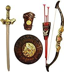 HALO NATION® Bahubali Warrior Set - Knights Fancy Dress Kids Cosplay - Kings Sword, Sheild, Bow & 3 Arrows & a Hand Armour