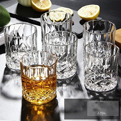 JIEJIEDE Bleifrei-crystal whiskeygläser,Retro-diamant bier becher haltbar weingläser shot gläser für bier whisky milch saft tee kaffee 250ml 6er set-B - Crystal Shot Glas Set