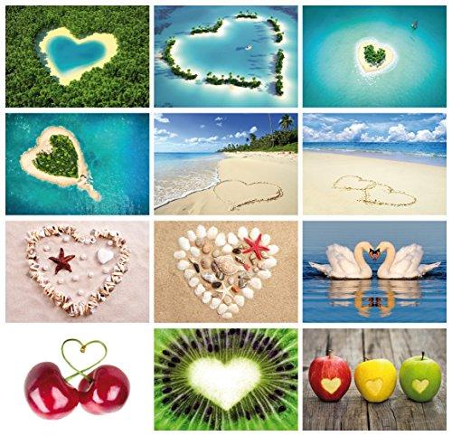 """Edition Colibri Postkarten-Set """"Love-Cards"""" (Set 2), 24 Karten mit Herzen, alles verschiedene Motive (10794-817) …"""
