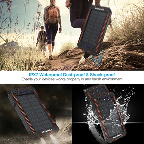 Poweradd-Apollo-2-Solar-Charger-12000mAh-Portable-Solar-Panel-Solar-Power-Bank-with-Dual-USB-Ports5V24Ax2-5V34A-total-Waterproof-Shockproof-Dustproof-for-Emergency-Outdoor-Camping-Travel