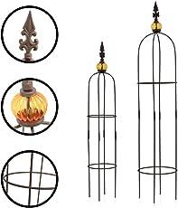 1PLUS Metall Rankhilfe Obelisken Set, 2 Stück, Höhe: 80,5 und 100 cm, in versch. Farben und Designs - rost-geschützte Garten Rosen Säule
