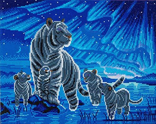 Craft BUDDY Diamond Painting Bild Tigerfamilie mit LED Beleuchtung, auf Keilrahmen, ca. 50x40cm, Vollbild
