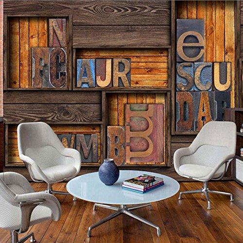 3D Retro personalisierte Retro Wood-Grain Holzindustrie Cafe Urban stilvollen, klassischen Tapeten Milch Tee Shop in modischer Klassiker der Stadt, ich Tapeten, Tapeten + Kleber Wasser