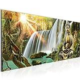Bilder Buddha Wasserfall Wandbild Vlies - Leinwand Bild XXL Format Wandbilder Wohnzimmer Wohnung Deko Kunstdrucke Grün 1 Teilig -100% MADE IN GERMANY - Fertig zum Aufhängen 012112a