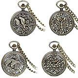 JewelryWe lotes de 4Steampunk de bronce antiguo medio cazador esqueleto Mechanica relojes de bolsillo de relojes de bolsillo con cadena - JewelryWe - amazon.es