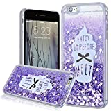 We Love Case for iPhone 6 Plus 6S Plus Case, Liquit Glitter Floating Flowing Bling Shiny Sparkle Premium Hybrid 2 in 1 PC Hard Back Silicone TPU Soft Edge Ice Cream Pattern Design Cute Clear Slim Thin Cover, Plastic Protective Shock Absorption Proof Drop Defend Anti Scratch Shell for iPhone 6 Plus 6S Plus - Purple Heart