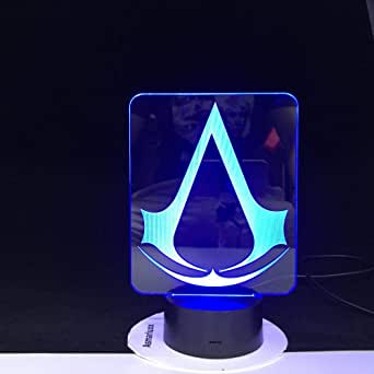Assassins Creed Gioco Logo 3D LED Nightlight,regalo per bambini Decorazioni per la camera da letto Colori che cambiano Sala studio Lampada da notte a led