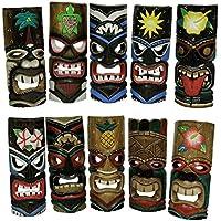 Set di 10Polynesian Tiki Style Wall Masks 27,9cm - Tiki Bar Della Decorazione Della Parete