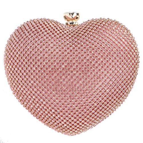 Bonjanvye Heart Shape Diamond Clutch Bag for Ladies Trendy Evening Purse Pink