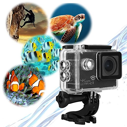 4K Action Camera, miSafes WiFi Sports Camera Cam 2.0 Inch 16MP 4K 1080P 170° Wide Angle Lens H.264 HDMI Output Action Camcorder with Waterproof Case and Accessories Kit, Perfect for Extreme Sports Outdoor Motorcycle Skiing Snowboarding Surfing Hiking Clim