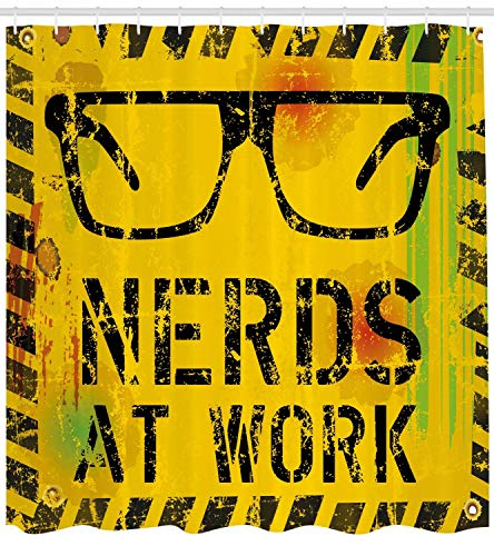 YANAN Duschvorhang Nerds at Work Nerds Bei der Arbeit Fiktiv Bild Gläser Brille Achtung Arbeit Geek Druck Thema Blickdicht aus Stoff inkl. 12 Ringen Umweltfreundlich Waschbar 175 X 200 cm