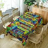 GuDoQi Tischdecke Bunte Kreise Muster Rechteck Tischdecke Tischdecken aus Polyestergewebe für Küche und Esstisch Dekoration