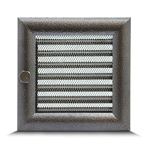 17 x 17cm Rejilla de lamas Aire rejilla ventilación Chimenea regulable Semicircular perfil - NEGRO Y ORO acero inoxidable
