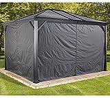Sojag Aluminium Pavillon Ventura 10x10 Vorhänge Seitenteile Dunkelgrau/Passend für Gartenlaube Ventura 10x10