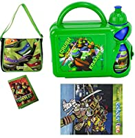 Teenage Mutant Ninja Turtles Travel Pre-Filled Junior Messenger Bag - Filled With Hard Case Lunch Box with Bottle,Wallet & Colour fun book