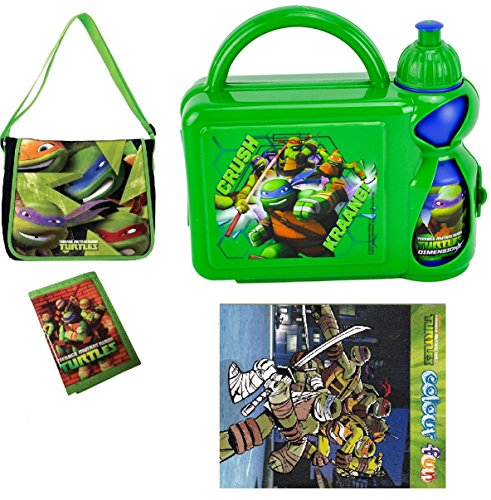 Image of Teenage Mutant Ninja Turtles Travel Pre-Filled Junior Messenger Bag - Filled With Hard Case Lunch Box with Bottle,Wallet & Colour fun book