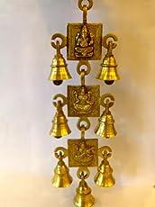 Swethamber Arts Kings And Queens Brass Gift Item Ganesha/Lakshmi/Saraswathi 3 Bell Set Bell(Yellow, 31 cm X 8 cm)