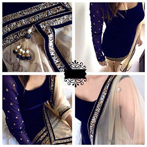 Clothfab Navy Blue Velvet Women's Semi-Stitched Salwar Suit Set (Velvet-Neavy Blue1_Free Size)