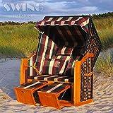 Swing & Harmonie Luxus Strandkorb XL - 118cm Rügen Volllieger Ostsee Sonneninsel Rattan Möbel Gartenliege Polyrattan (Rot/Grün/Beige - Kariert)