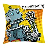 Peach Flower Retro Throw Pillow Cushion Cover, Pop Art Futuristic Robot with Comic Strip We Can Do It Digital Times Graphic, Decorative Square Accent Pillow Case, 20 X 20 inches, Marigold Blue Grey