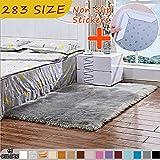 MODKOY alfombras Online Tela Lavable Tejidas Shaggy Ultra Suaves Sheepskin Rug Cordero Moderna para Cocina Baño Exterior Salon Grandes 240x300cm Gris