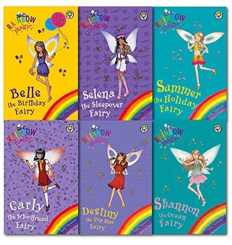 Rainbow Magic Summer Fun Fairy Daisy Meadows 6 Books Collection Set- Belle the Birthday Fairy, Carly the School Friend Fairy, Destiny the Pop Star Fairy, Selena the Sleepover Fairy, Shannon the Ocean Fairy, Summer the Holiday Fairy (Belle The Birthday Fairy)