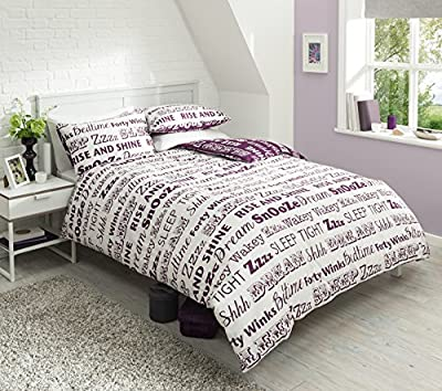 Pieridae Sleep Text Purple Duvet Cover & Pillowcase Set Bedding Quilt Blanket Set Reversible - cheap UK light shop.