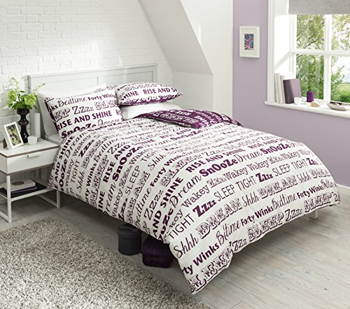 Pieridae Sleep Text Purple Duvet Cover & Pillowcase Set Bedding Quilt Blanket Set Reversible (King)