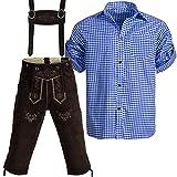 Trachtenset Lederhose Kniebundhose Gr 46 mit Trägern aus Rindveloursleder Dunkelbraun + Trachenhemd blau kariert