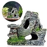 LANDUM, roccia decorativa per acquario, nascondiglio per pesci, con cavità e muschio