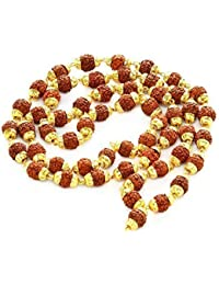 Readymart Rudraksh 5 Mukhi Japa Mala Rosary 54+1 Bead With Golden Cap (7MM Bead) For Unisex