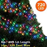 Cluster Lights 720 Multi Colour Outdoor Christmas Tree Lights LED Fairy Lights ( 9m / 30ft Lit Length ) Multi-action Mains Operated Green Cable - Indoor & Outdoor