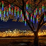 Jltech Meteor Shower, Falling Rain Icicle Snow String Lights with 30cm 8 Tubes 224 Waterproof LEDs for Wedding Party Holiday and Christmas Decorations (Multicolor)