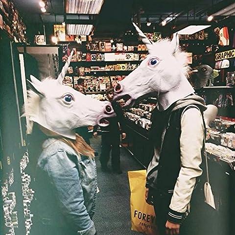 rusero Tier Maske Einhorn Pferd Kopf Cosplay Kostüm Party Latex Gummi Prop