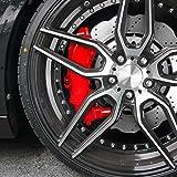 JOM Car Parts & Car Hifi GmbH JOM 200000 Bremssattellack, Bremssattel Lackier- Set, rot, 1K-System, Bremssattellack 75ml, Bremsenreiniger 250ml, Pinsel und Handschuhe