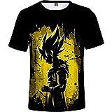 HAOSHENG Niño Anime Goku Super Saiyan Camiseta Hip Hop 3D Super Saiyan Cosplay T-Shirt