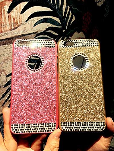 iPhone 6S Plus Hülle,iPhone 6 Plus Hülle,SainCat Glitzer Silikon Schutz HandyHülle für iPhone 6 Plus/6S Plus Silikon Hülle Gold Muster Tasche Handyhülle Bling Glänzend Glitzer Strass Kristall Diamant  Gold