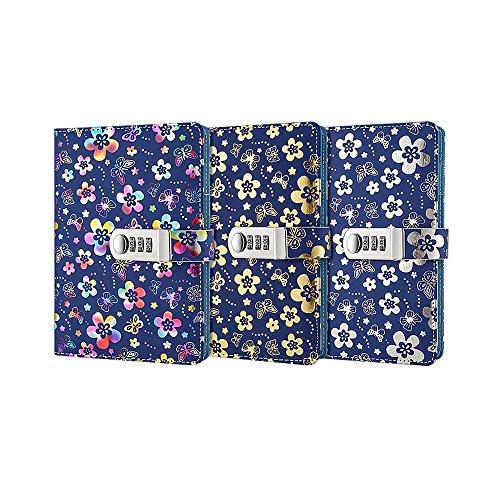 Ya Jin Blumen Prägung Gold Secret Diary Notebook, A5PU Leder Sperren Zeitschriften mit Zahlenschloss und Stifthalter bunt (Laptop Kombination Sperre)