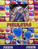 FIESTA Piruletas - Caramelo con palo en forma de corazón - Pintalenguas - Sabor mora - 80 unidades