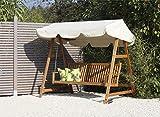 Hollywood-Schaukel / Gartenschaukel 3-Sitzer mit Sonnen-Dach aus braun geöltem Robinien Holz mit einer Sitzbreite von ca. 156 cm