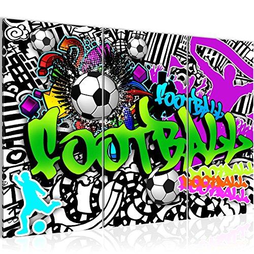Photo Graffiti de football Décoration Murale 120 x 80 cm Toison - Toile Taille XXL Salon Appartement Décoration Photos d'art Vert 3 Parties - 100% MADE IN GERMANY - prêt à accrocher 402631a