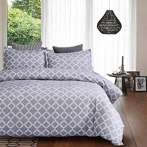 DXSX Bettwäsche Set Diamond Geometric Pattern Print Bettbezug und Kissenbezug Reißverschluss Schließung Microfaser Bettwäsche-Set (Grau, 220x240cm)