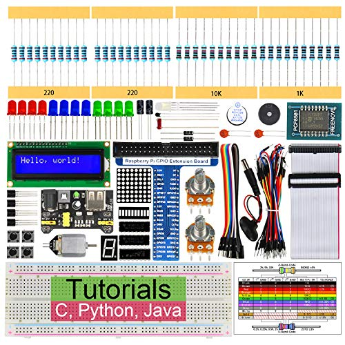 Freenove Super Starter Kit for Raspberry Pi 3 B+, 285 Pages Detailed Tutorials, Python C Java, 164 Items, 38 Projects, RPi 3B+ 3B 3A+ 2B 1B+ 1A+ Zero W (Python-starter-kit)