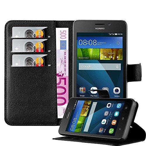 Cadorabo Hülle für Huawei Ascend Y635 Hülle in Phantom schwarz Handyhülle mit Kartenfach und Standfunktion Case Cover Schutzhülle Etui Tasche Book Klapp Style Phantom-Schwarz