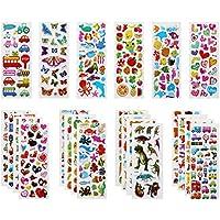 PLUM-MARKETING Autocollants 3D pour Enfants Stickers 500+Pack,3D en Relief, 22 Feuilles Autocollants de Variétés pour Récompenser Scrapbooking, y Compris Animaux, Dinosaures, Numéros,etc