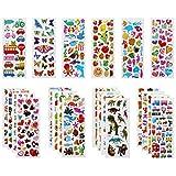 VLCOO Pegatinas para Niños 500+ 3D Puffy Pegatinas, 22 Hojas Variedad de Pegatinas para Regalos Gratificantes Scrapbooking Que Incluye Animales, Peces, Dinosaurios, Números, Frutas, Aviones y Más