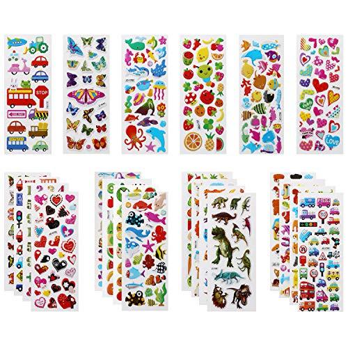 Vicloon Aufkleber für Kinder, 22 Verschiedene 3D Stickers 500 Geschwollene Aufkleber Einschließlich Tiere, Dinosaurier, Autos, Zahlen, Früchte, Flugzeug und Mehr