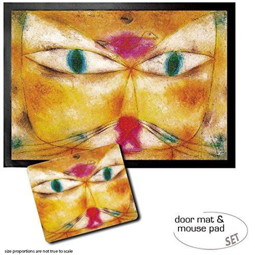 Set: 1 Fußmatte Türmatte (70x50 cm) + 1 Mauspad (23x19 cm) - Paul Klee, Katze Und Vogel, 1928