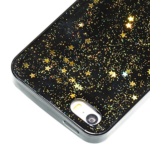 iPhone 5S/SE Miroir Cover Case,iPhone 5S/SE Case Glitter,Hpory Beau élégant Luxury Ultra Thin Soft TPU Gel Silicone Cristal Clair Bling Brillant Miroir Placage Ours Bling Glitter Ring Stand Holder Etu Star,Or
